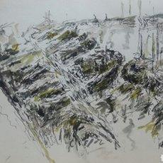 Arte: ACUARELA A EMBARCADERO /B BODEGON. Lote 155743350