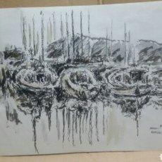 Arte: ACUARELA LOS REFLEJOS DEL PUERTO CARA A Y B ORIGINAL. Lote 155744506