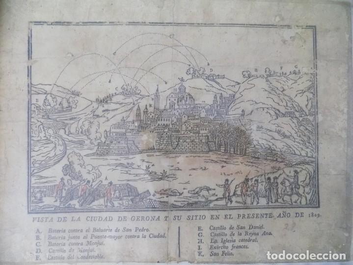 Arte: LIBRERIA GHOTICA. RARÍSIMO GRABADO DE LOS SITIOS DE GERONA POR LOS FRANCESES. 1809. ORIGINAL.MILITAR - Foto 2 - 155754294