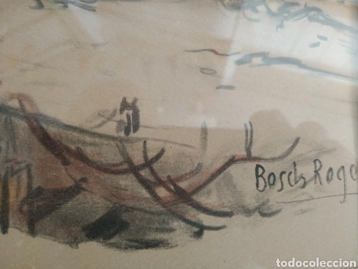 Arte: BARCELONA. EMILIO BOSCH ROGER. BARCELONA 1894-1980. BARCAS EN EL PUERTO - Foto 3 - 140723874