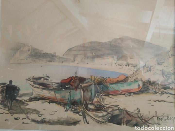 Arte: BARCELONA. EMILIO BOSCH ROGER. BARCELONA 1894-1980. BARCAS EN EL PUERTO - Foto 4 - 140723874