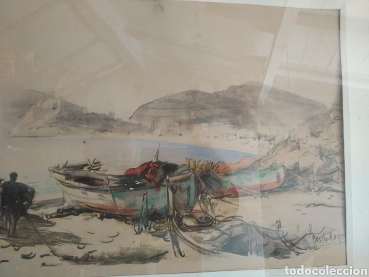 Arte: BARCELONA. EMILIO BOSCH ROGER. BARCELONA 1894-1980. BARCAS EN EL PUERTO - Foto 5 - 140723874