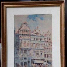 Arte: GRAND PLACE BRUXELLES, ACUARELA SOBRE PAPEL, ESCUELA EUROPEA SIGLO XX. 45X29CM. Lote 155905722
