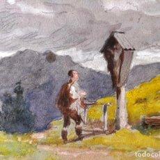 Arte: EXCELENTE ACUARELA IMPRESIONISTA, FIRMADA Y FECHADA 1899, TIROL SUR DE ITALIA. Lote 156040882