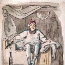 Arte: MARAVILLOSA ACUARELA ORIGINAL DE FIRNALES DEL SIGLO XIX, CIRCA 1895, ESCENA CÓMICA, GRAN CALIDAD. Lote 156044122
