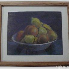 Arte: BODEGON DE FRUTAS, PASTEL, FIRMADO ILEGIBLE. Lote 156498870