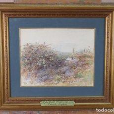 Arte: PAISAJE ZARZAL ACUARELA SOBRE PAPEL INGLESA MYLES BIRKET FOSTER 1825 1899 SIGLO XIX. Lote 156504222