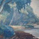 Arte: ACUARELA DE LA RIVERA DEL EBRO,FIRMADA POR M.CORRALES, FECHADA 1930 Y FIRMADA.PAISAJE ZARAGOZA.. Lote 156691182