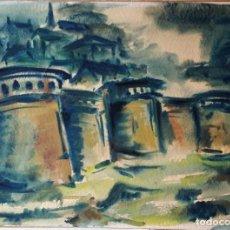 Arte: SAINT MALO, ACUARELA FIRMADA Y SELLO SECO. Lote 156701242