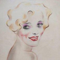 Kunst - Maravilloso retrato original de una bella joven rubia, art deco, años 20, pastel, calidad - 156854998