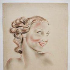 Kunst - Maravilloso retrato original de una bella joven castaña, art deco, años 20, pastel, calidad - 156855218