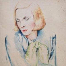 Kunst - Maravilloso retrato original de una mujer, art deco, años 20, pastel, calidad - 156855490