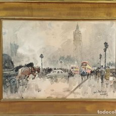 Arte: CALLE DE LONDRES. ACUARELA SOBRE PAPEL. GIULIO FALZONI. ITALIA. 1955.. Lote 156988350