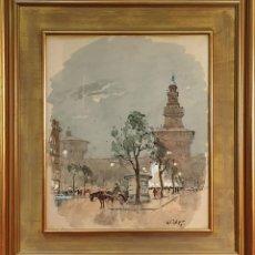 Arte: PAISAJE URBANO. ACUARELA SOBRE PAPEL. GIULIO FALZONI. 1957. . Lote 156998162