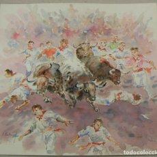 Art: ACUARELA ORIGINAL TEMA DE TAUROMAQUIA SAN FERMINES DE EMILIO CARBONELL. Lote 157331506