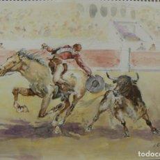 Arte: ACUARELA ORIGINAL TEMA DE TAUROMAQUIA DE EMILIO CARBONELL. Lote 157336438