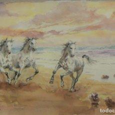Arte: ACUARELA ORIGINAL DE CABALLOS DE EMILIO CARBONELL. Lote 157338478