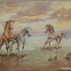 Art: ACUARELA ORIGINAL DE CABALLOS DE EMILIO CARBONELL. Lote 157338562