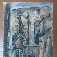 Arte: ACUARELA ORIGINAL IGLESIA BARCELONA FIRMADA. Lote 157339878