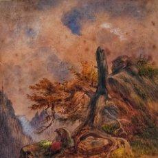 Arte: EXCELENTE PAISAJE ORIGINAL DE MEDIADOS DEL SIGLO XIX, CIRCA 1850, GRAN CALIDAD. Lote 157352326