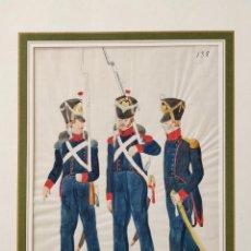 Arte: ACUARELA ORIGINAL SOBRE SEDA DE TRES SOLDADOS DE INFANTERÍA DE FRANKFURT, CIRCA 1880, CALIDAD. Lote 158206394
