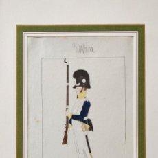 Arte: RETRATO ORIGINAL EN ACUARELA DE UN SOLDADO, SOBRE PAPEL VERJURADO, CIRCA 1880, CALIDAD. Lote 215948386