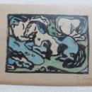 Arte: FRANZ MARC (1880-1916) ACUARELA ORIGINAL FIRMADO A LAPIZ, WOODCUT DE 1911, 22,5X16 CMS. Lote 158225294