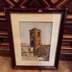 Arte: TORRE DE LA IGLESIA EN ACUARELA, FIRMADO S. DE LA FUENTE - ARÉVALO 53 - 54.5X44.5CM. Lote 158355814