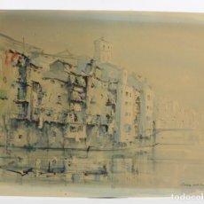 Arte: JAUME ROCA DELPECH, ACUARELA, CASAS DEL RÍO OÑAR, GIRONA. 42,5X32,5CM. Lote 158380238