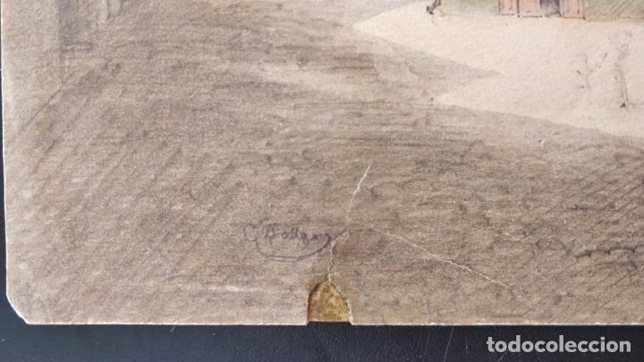 Arte: Magistral acuarela original de mediados del siglo XIX, firmada, gran calidad y detallismo - Foto 2 - 158528594