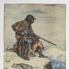 Arte: CAZADOR EN LA MONTAÑA, ACUARELA SOBRE CARTULINA, FIRMADO J. RIVAS. 24X33CM. Lote 158669430