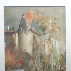 Arte: ACUARELA, FIRMADO FARRÉ, DIAGONAL DE BARCELONA, LES PUNXES, PARA REVISTA B VISTA PER SEUS ARTISTES. Lote 158748126
