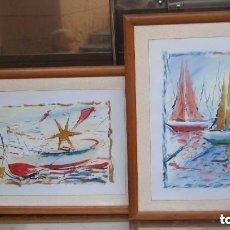 Arte: 2 CUADROS MARINAS DE GRAN TAMAÑO: 87 CM X 67,5 CM X 2,2 CM. Lote 158810798