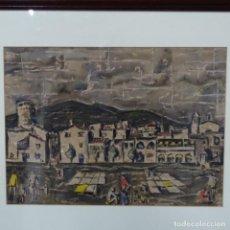 Arte: EXCELENTE ACUARELA DE CARLES VIVO SIQUES(SALT 1930-GIRONA 2005).TOSSA DE MAR 1957.. Lote 158859082