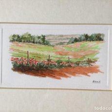 Arte: ACUARELA CON PAISAJE RURAL FIRMADA ARMAND. Lote 159200434