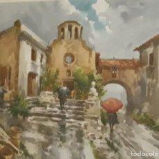 Arte: MARIANO BRUNET COLL (1918-1999) - PASAJE - ACUARELA -. Lote 159649718