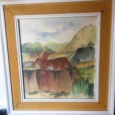 Arte: PAISAJE- CANTERAS Y MINAS DE LA UNION- FIRMADO- ACUARELA-. Lote 159859858
