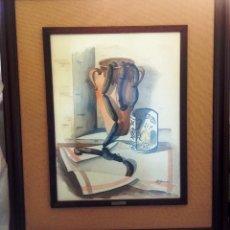 Arte: CUADRO ACUARELA, TAMAÑO GRANDE, DOBLE ENMARCADO, TAPICERIA RUSTICA Y MARCO MADERA- FIRMADO. Lote 159861254
