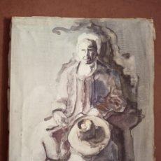 Arte: BELLO DIBUJO COLOREADO CON ACUARELA. FIRMADO POR EL AUTOR. 61 X 46 CM. . Lote 159994422