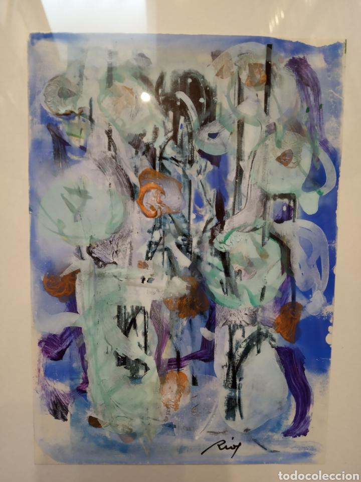 Arte: Obra técnica mixta sobre serigrafía abstracta. Firmada Ríos.17x12 cm. - Foto 2 - 160667414