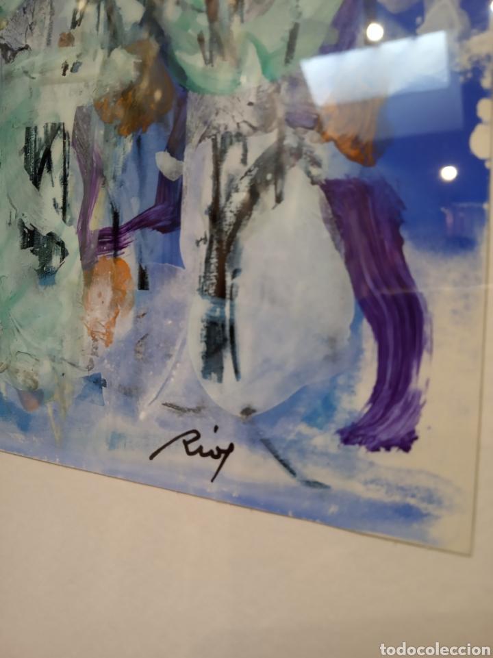 Arte: Obra técnica mixta sobre serigrafía abstracta. Firmada Ríos.17x12 cm. - Foto 3 - 160667414