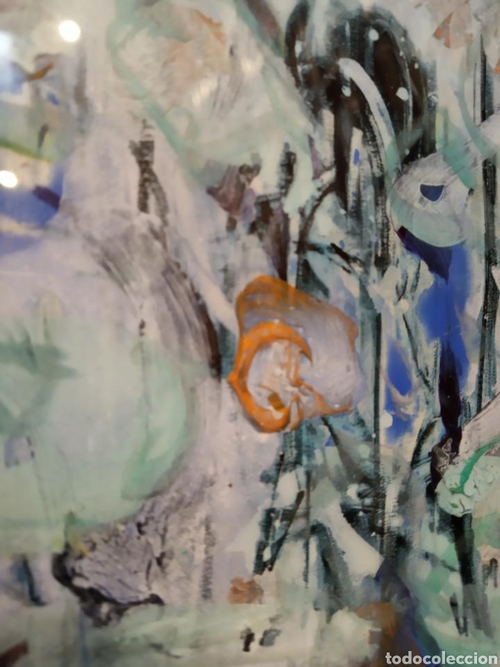 Arte: Obra técnica mixta sobre serigrafía abstracta. Firmada Ríos.17x12 cm. - Foto 4 - 160667414