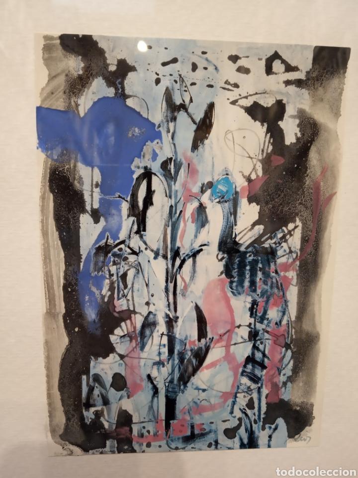 Arte: Obra técnica mixta. Pintada sobre serigrafía abstracta. Firmado Ríos. 17x12 cm. - Foto 2 - 160667728