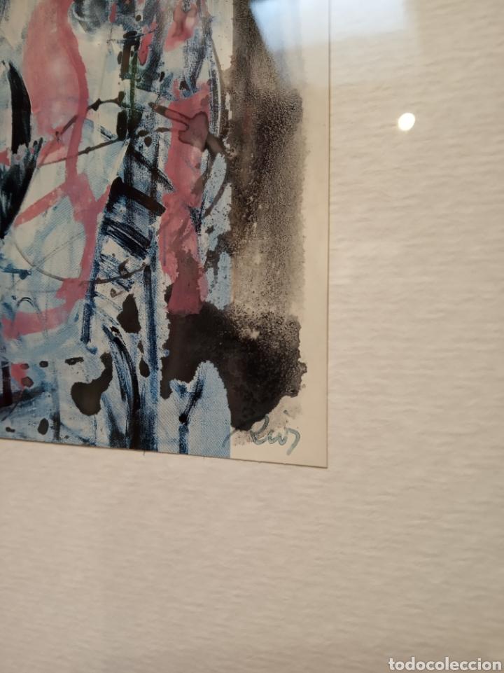 Arte: Obra técnica mixta. Pintada sobre serigrafía abstracta. Firmado Ríos. 17x12 cm. - Foto 3 - 160667728