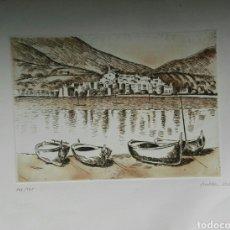 Arte: GUILLEM VILLÀ AGUAFUERTE ORIGINAL 25X18CM CADAQUÉS. Lote 160730564