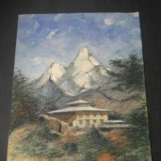 Arte: ACUARELA Nº19. PAISAJE , CASA, MONTAÑAS.. Lote 160745682