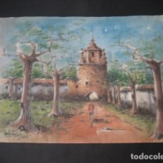 Arte: ACUARELA Nº25. PAISAJE , CASA, TORRE ARBOLES. FIRMADA LUIS ALONSO. Lote 160745822