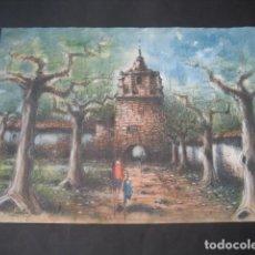 Arte: ACUARELA Nº26. PAISAJE , CASA, TORRE ARBOLES. FIRMADA LUIS ALONSO. Lote 160745986