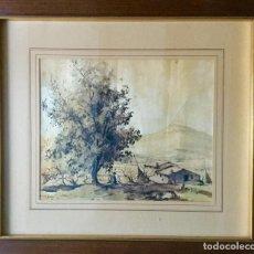 Arte: VICENÇ SOLÉ JORBA (OLOT,GIRONA 1904-BRULL, BARCELONA,1946) ACUARELA CON PAISAJE. Lote 160792998