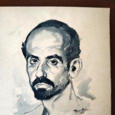 Arte: BONITA ACUARELA ORIGINAL JUAN RAMON JIMENEZ PINTADA POR MANUEL MONLEON BURGOS CARTELISTA. Lote 160969286